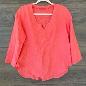 CUT LOOSE | Coral Split Neck Linen Blouse